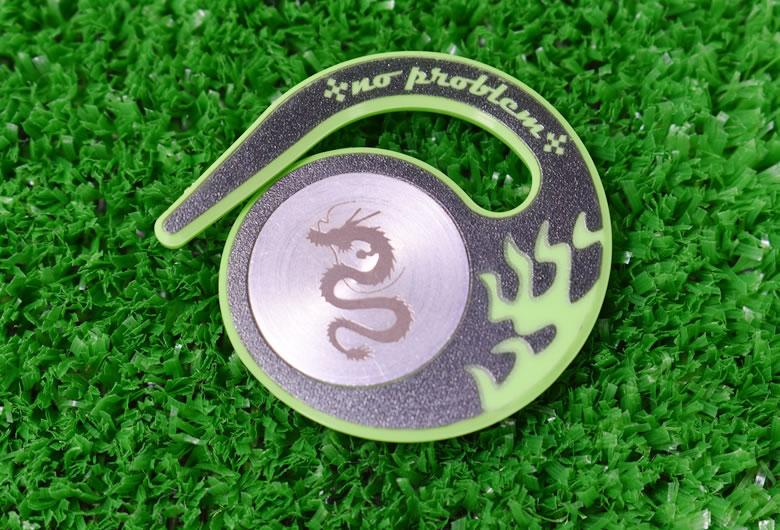 ベルトループに引っ掛けるタイプハングマーカー(ゴルフマーカー)ドラゴンシリーズ GREEN